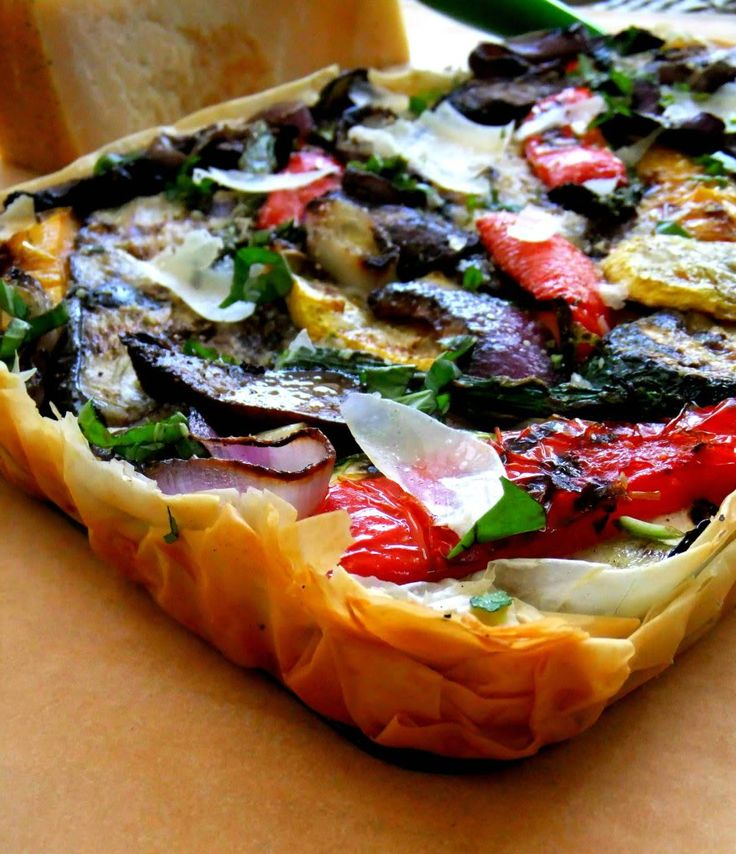 Grilled Vegetable Tart with Phyllo by prouditaliancook: Buon Appetito! #Tart #Veggie #Phyllo #Grilling