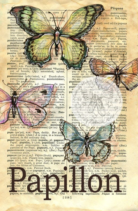 Papillon Mixed Media Drawing on French/English Dictionary by Flying Shoes Art Studio on Etsy