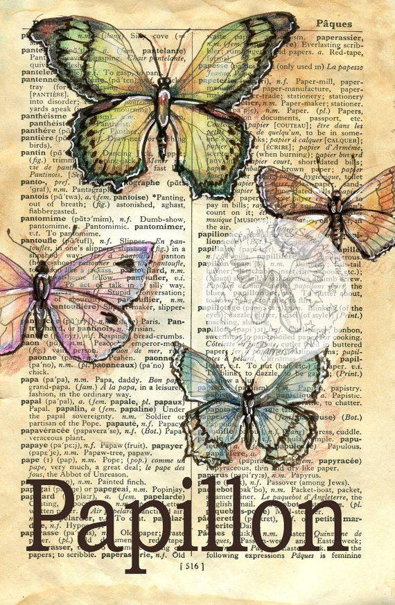PRINT:  Papillon Mixed Media Drawing on French/English Dictionary