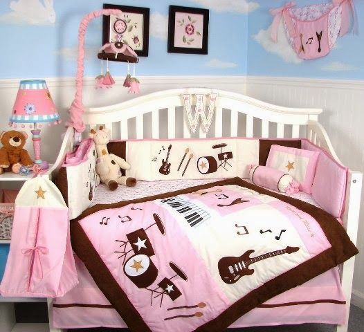 This is the bedding i want for bentley.. Music themed for girl