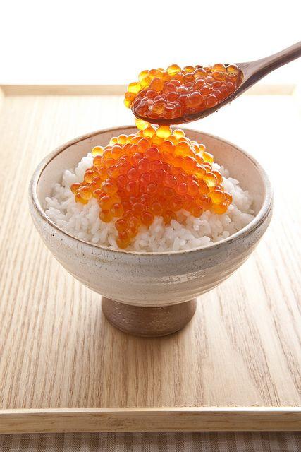 Japanese salmon roe rice bowl .