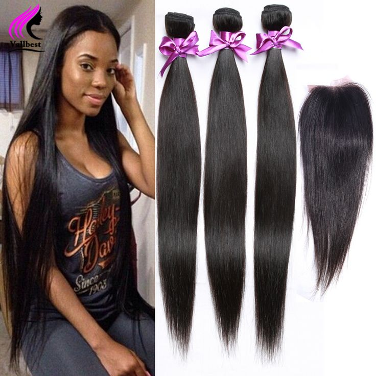 Straight Hair With Closure Weave Straight Human Hair With Closure 4 Bundles With Closure Lace Malaysian Virgin Hair With Closure
