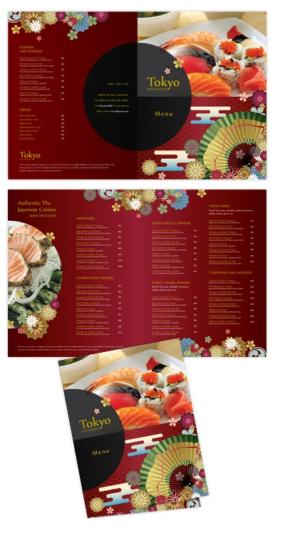 Japanese Sushi Restaurant Bi-fold To-go menu template #menu