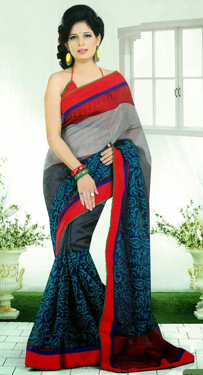 Black and Blue color Silk Sarees-Silk Printed #Saree