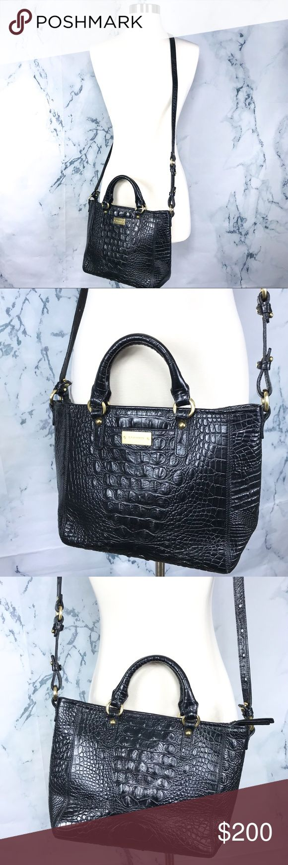 •Brahmin• Crossbody Handbag Sophisticated yet sexy everyday black bag. Comes with detachable crossbody straps. Interior has signs of wear such as debris and pen stains as shown but no holes or tears. Open to offers! With provide measurements soon. Brahmin Bags Crossbody Bags