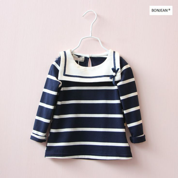 Y31068833 Retail 2017 Summer Baby Girl Top Striped Crew Neck Bow Toddler Girl Tee Full Sleeve Girl Clothes Fashion #Affiliate