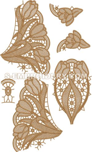Freestanding lace tulip doily machine embroidery set