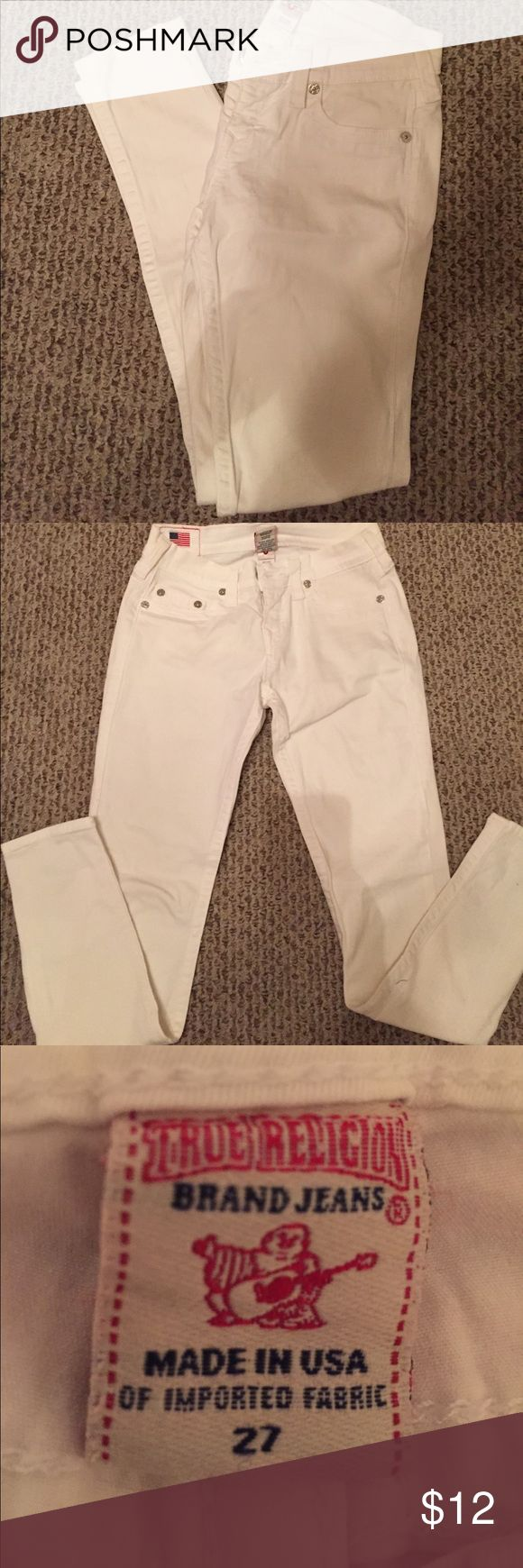 TRUE RELIGION STRAIGHT LEG JEANS 💞 TRUE RELIGION STRAIGHT LEG JEANS IN WHITE. NO STAINS, TEARS OR RIPS. SMOKE AND PET FREE HOUSE ALTHOUGH WE LOVE ANIMALS....❤️ True Religion Jeans Straight Leg