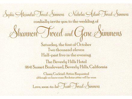 Gene Simmons and Shannon Tweed's wedding invite: Kiss Lounges, Gene Shannon, Kiss Army, Invitations Ideas, Kids Courtesi, Shannon Tweed, No Kids, Tweed Wedding, Gene Simmons