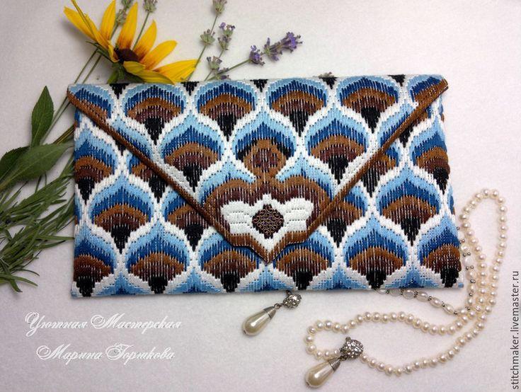 Купить Клатч сине-коричневый вышитый в стиле барджелло - коричневый, орнамент, синий, сине-коричневый