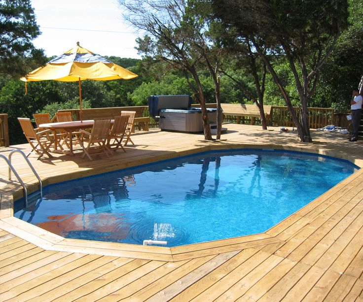 swiming pools yellow outdoor umbrella with pool spa also above ground deck pool and hand rails