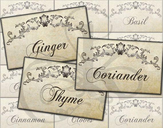 Printable Vintage Kitchen Spice Labels Jar Labels by KetrinaDesign