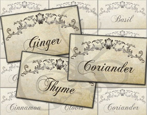 Printable Vintage Kitchen Spice Labels Jar Labels by KetrinaDesign