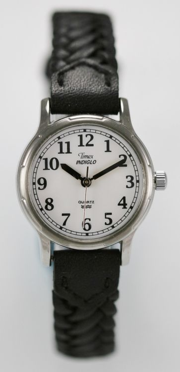 Timex Watch Women White Stainless Silver Leather Black Water Resist Light Quartz