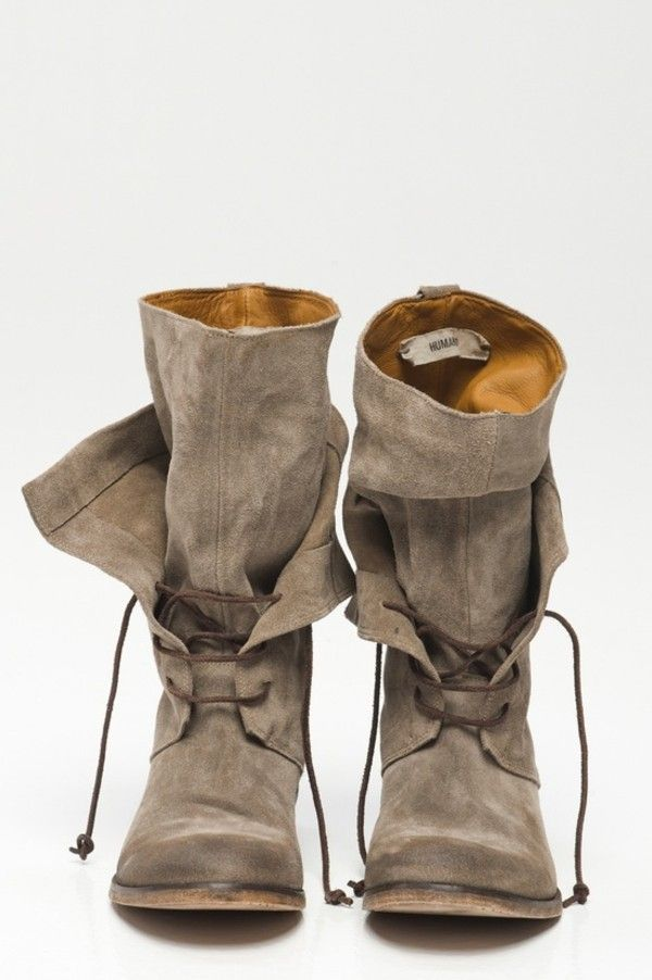 Shoes: combat boots indian boots boots slouchy slouch brown taupe beige laces