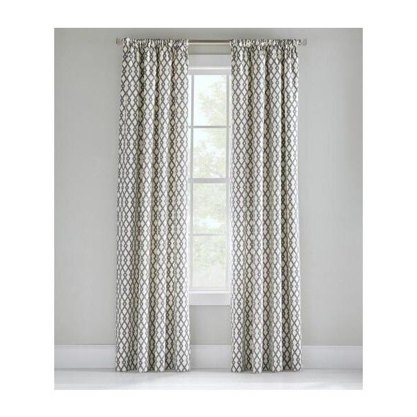 Prospect and Vine Ainsley Diamond Rod Pocket Curtains Pair ($112) ❤ liked on Polyvore featuring home, home decor, window treatments, curtains, greystone, neutral curtains, diamond curtains, diamond pattern curtains, pole top curtains and rod pocket curtains