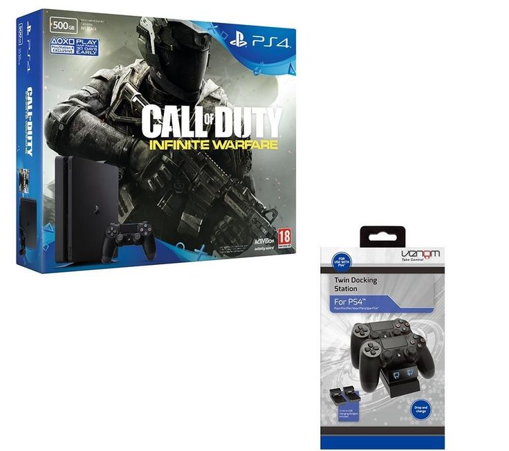 SONY  Slim, Call of Duty: Infinite Warfare & Twin Docking Station Bundle - 500 GB Price: £ 239.99 Show your worth on the battlefield with the PlayStation Slim, Call of Duty: Infinite Warfare & Twin Docking Station Bundle . PlayStation 4 Slim & Call of Duty: Infinite Warfare - 500 GB Discover a revamped PlayStation console 30% smaller and lighter than the previous model and more energy...