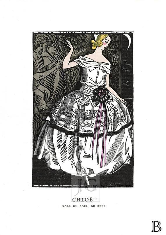 Vintage Alberto Vargas Original Art Nouveau Book Plate Print Robe du Apres Midi