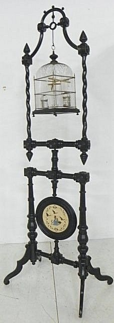 Victorian ebonized birdcage on stand
