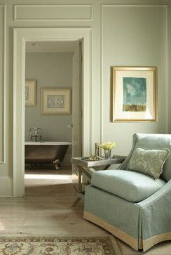 Gorgeous light Edwardian duck egg blue and light sage bedroom, leads into a period style bathroom with a freestanding tub, devine! J. Hirsch Interior Design Portfolio