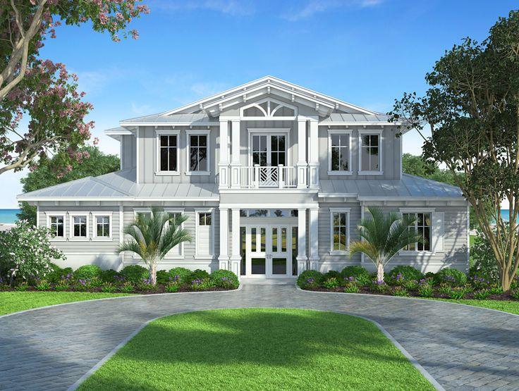 Best Coastal House Plans Images On Pinterest Coastal House - Craftsman house plans with 3 car garage