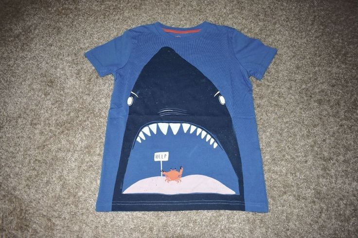 NWOT Mini Boden Boys Blue Orange T Shirt Tee Whale Crab Size 7-8y #MiniBoden #Everyday