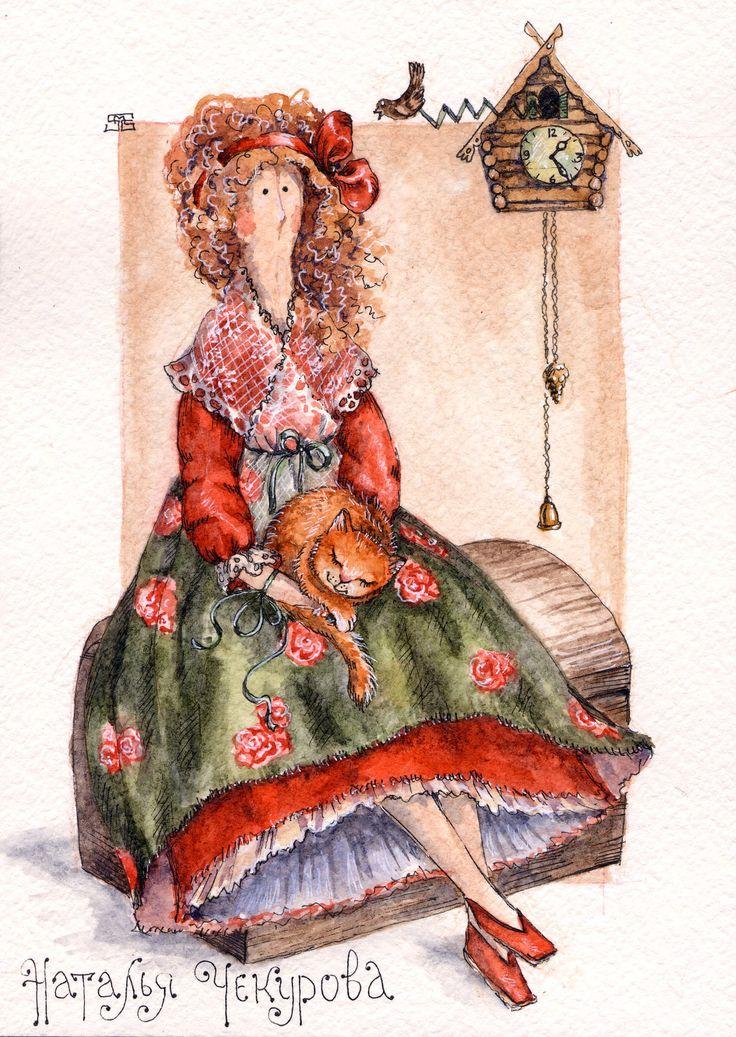 по мотивам работ Натальи Чекуровой bears dolls toys watercolor postcards мишки открытки