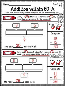 Bar Model Worksheets-Singapore Math