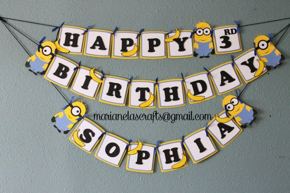 Despicable Me Minion Birthday Banner by MarianelasCrafts on Etsy