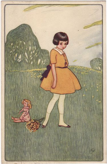 Sad Girl, vintage postcard