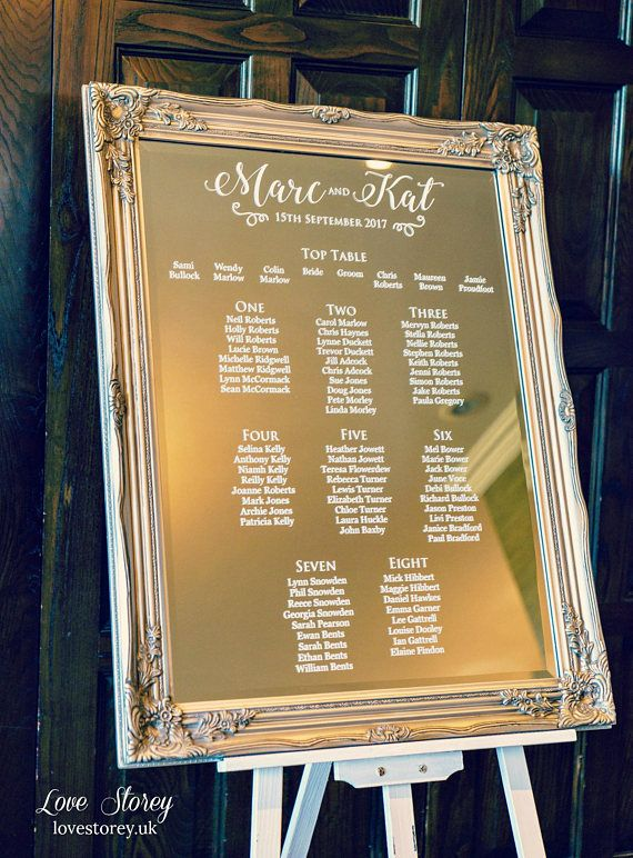 Mirror Wedding Table Plan With Modern Calligraphy Fonts