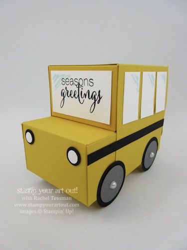 Adorable Truck Boxes for Holiday Gift Giving (School Bus Box, UPS Truck Box and USPS Truck Box)… #stampyourartout #stampinup - Stampin' Up!® - Stamp Your Art Out! www.stampyourartout.com
