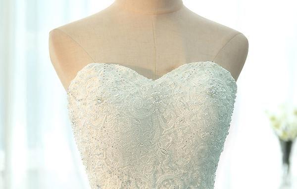 Без бретелек линии шнурка Sweet Heart Свадебных платьев, выполненное на заказ платья венчания, доступные Свадебные платья, WD236