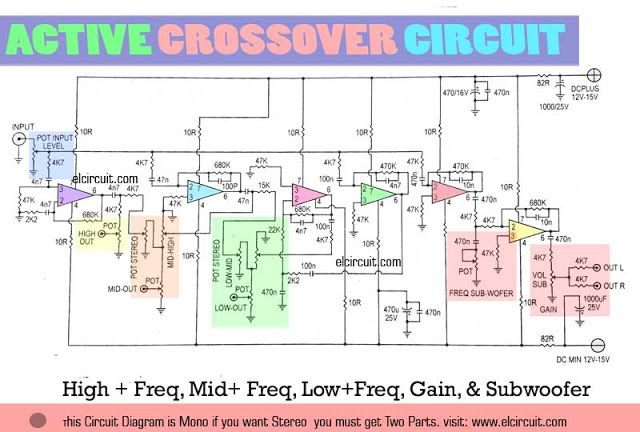 Active Crossover Circuit uses LM741 | Circuit in 2019 ... on
