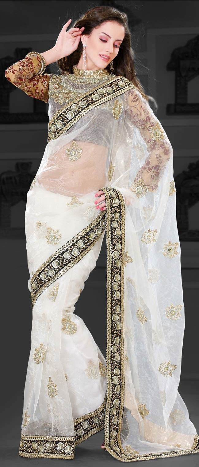 Off #White Tissue #Saree with #Blouse @ $176.15