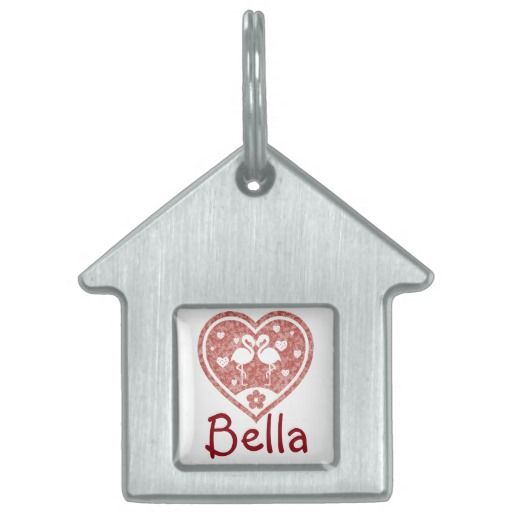 Textured Heart Flamingo Love - Custom Name / House-shaped Pet Tag! Made of burnished silver and printed in vibrant color #fomadesign