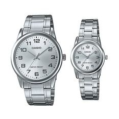 Casio Standard Couple MTP-LTP-V001D-7B - Jam Tangan Couple - Rantai - Silver