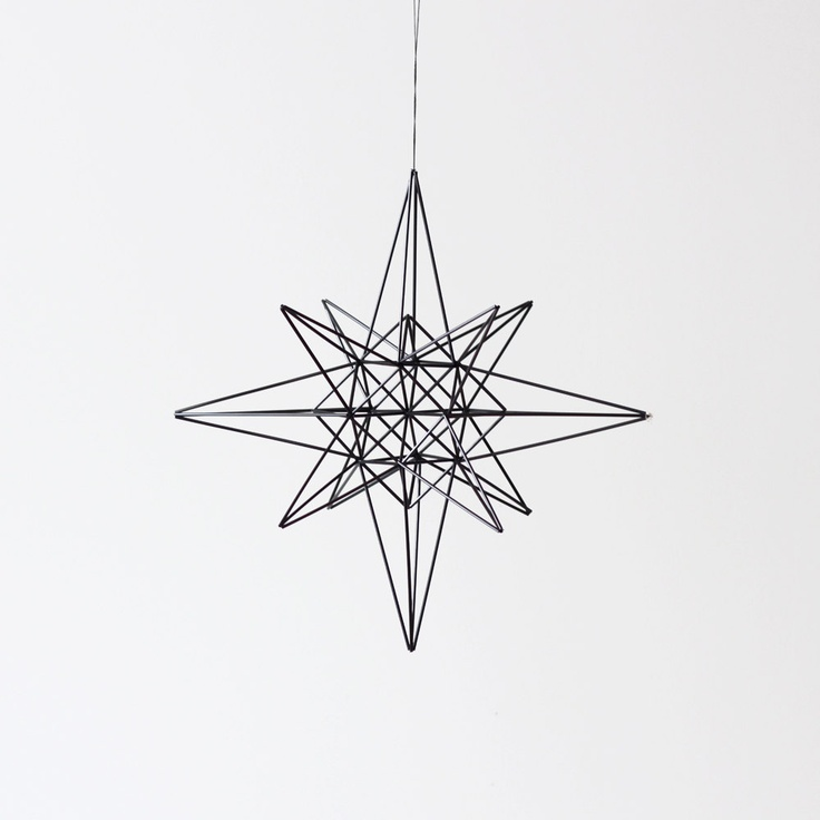moravian star style himmeli - hanging mobile - modern mobile - sculpture - geometric - black - finnish design - home decor. $97.00