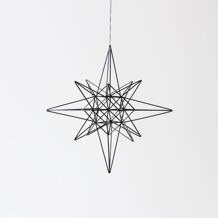 moravian star style himmeli - hanging mobile - modern mobile - sculpture - geometric - black - finnish design - home decor. $97.00