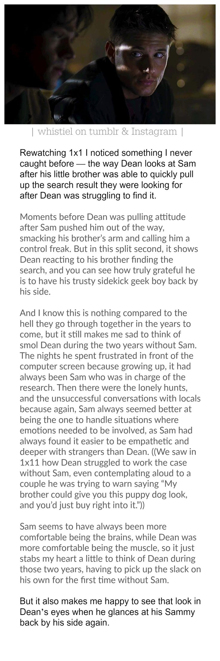 supernatural analysis from the pilot 1x1 about Dean Winchester and Sam Winchester. I love this :') Season 1 was my favourite!