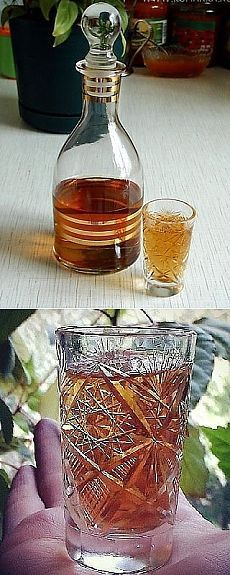 ДОМАШНИЙ КОНЬЯК.  Ингредиенты на 3 литра водки:  - горсть шиповника  - горсть боярышника  - 1 столовая ложка коры дуба  - 5-6 веточек зверобоя  - 10 шт. гвоздики (без шариков)  - 1 пакетик чая - 3 столовые ложки сахара  Приготовление:  Засыпать все ингредиенты в банку с водкой. Поставить в темное прохладное место, пробовать можно уже через три недели, но чем дольше - тем лучше. Через 3-4 месяца его не отличить от настоящего.