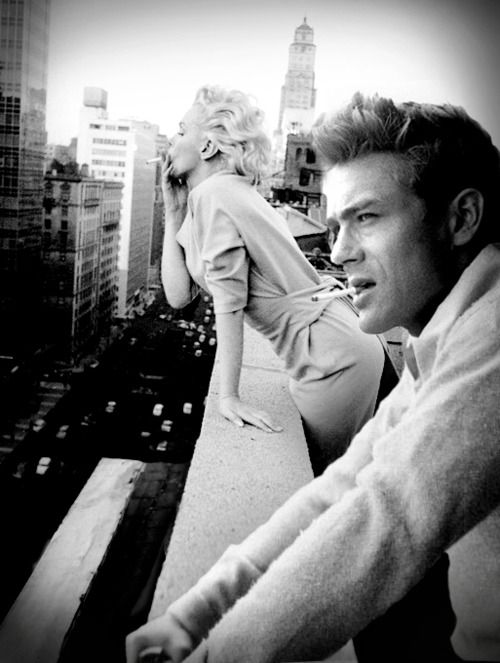Marilyn & Jimmy - actually never met, I have this pix on my board of her alone on this rooftop - an artist added James Dean's image. CLEVER!