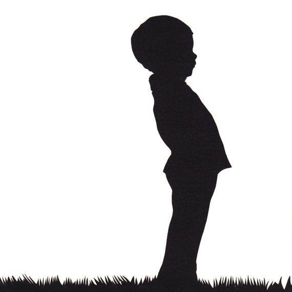 Silhouet - Een zwarte tekening waarbij je alleen het profil ziet. Verder zie je er geen inhoud in. Alleen de buitenkant.