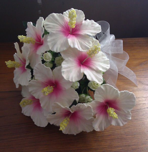 Bride Hawaiian Hibiscus Flower Bouquet, Jade Fashion - Aloha Wear Clothing Store