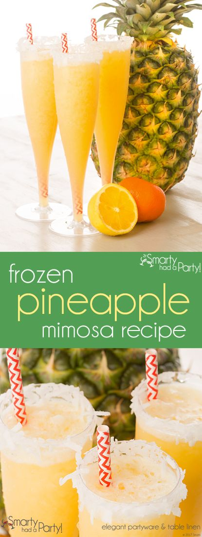 Learn how to make a frozen pineapple mimosa on our blog...it's the perfect drink choice for the summer! | SmartyHadAParty.com