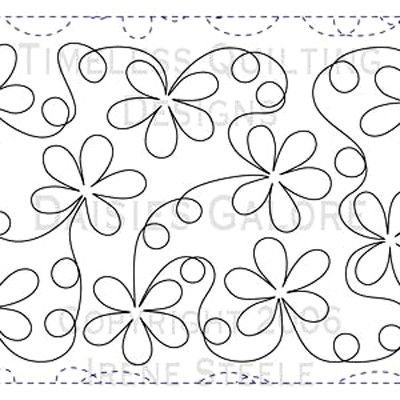 Daisy free motion quilting design..