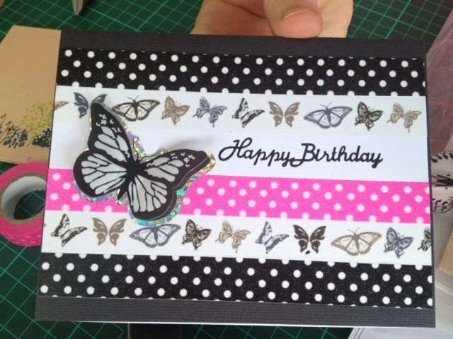 Washi tape card with a butterfly sticker.