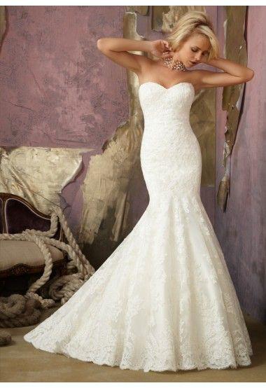 Trumpet/Mermaid Sweetheart Chapel train Tulle Ivory Wedding Dresses #USARS039