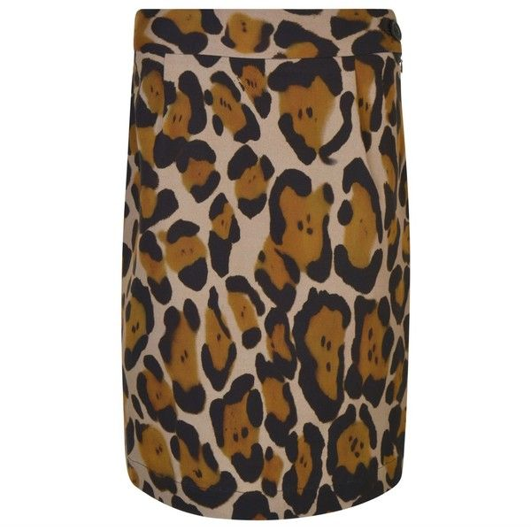 VIVIENNE WESTWOOD ANGLOMANIA Leopard Printed Mini Pencil Skirt (205 CAD) ❤ liked on Polyvore featuring skirts, high waist knee length pencil skirt, high-waisted pencil skirts, brown pencil skirt, high waisted mini skirt and high-waisted skirt