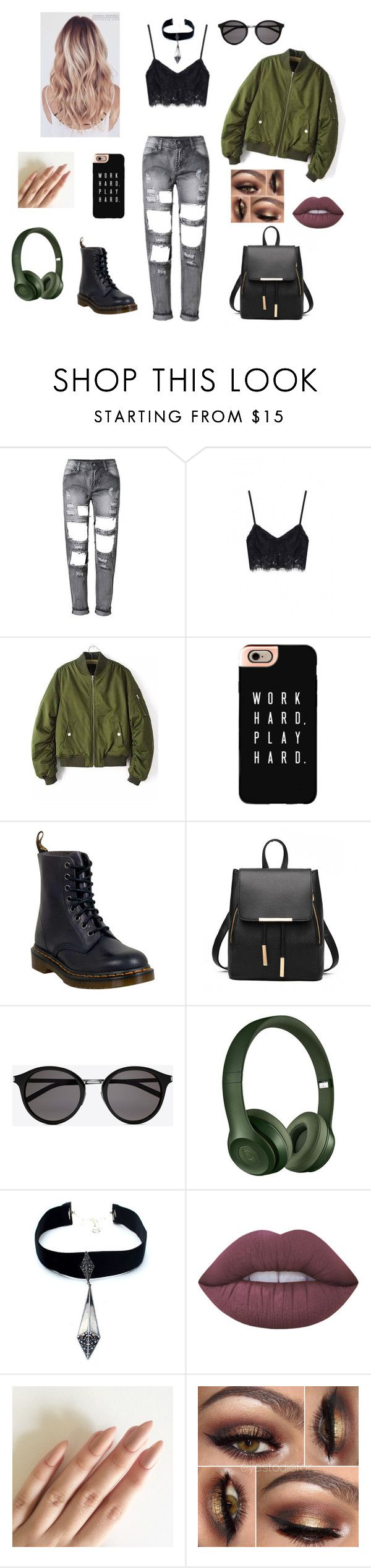 """Untitled #20"" by elenadisney on Polyvore featuring Casetify, Dr. Martens, Yves Saint Laurent, Beats by Dr. Dre, Child Of Wild and Lime Crime"